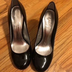 Black faux patent leather high heels